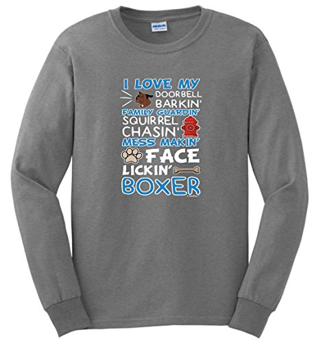 (Boxer Owner Gifts I Love My Boxer Dog Lover Poem Long Sleeve T-Shirt 2XL SpGry Sport Grey)