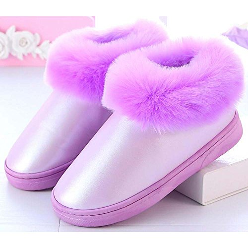 Eastlion Women's & Men's Winter Keep Warm Anti-Skid PU Waterproof Shoes Slippers Green wANJsy