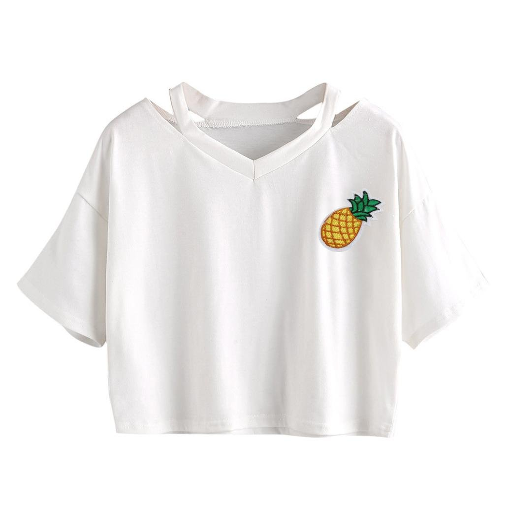Amazon.com: DondPO Womens Girls Planet Pineapple Printed T-Shirt Summer Tie Front Short Sleeve Round Neck Crop Top Casual Short Blouse Shirts Tee: Clothing