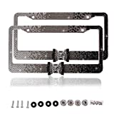 Purely Handmade Fashion 8 Row Gradient Black Bowtie Bling Crystal Car License Plate Frame Cute Waterproof Rhinestone SUV License Plate Holder Stainless Steel Truck Plate Frame(2 Frames)