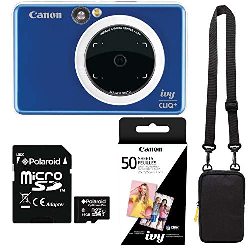 Canon Ivy Cliq+ Sapphire Blue Bundle with Zink Paper (50 Sheets), Camera Bag and 16GB MicroSD Memory Card