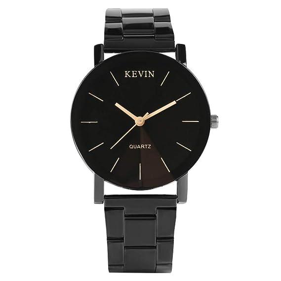 Relojes de Hombre de la Marca Kevin de Acero Inoxidable Negro Correa de Reloj de Cuarzo Relojes para Hombres y Mujeres: Amazon.es: Relojes