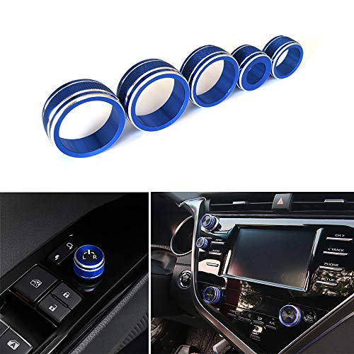 Thor-Ind 5pcs Aluminum AC Air Conditioning Audio Function Rear Mirror Knob Button Switch Cover Trim Ring for Toyota Camry 2018 XV70 Car Interior Accessories Decoration (Blue)