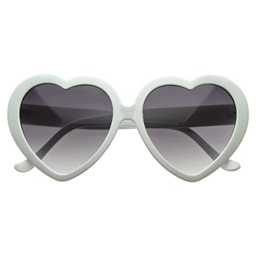 449043db37 Amazon.com  Large Oversized Womens White Heart Shaped Sunglasses ...