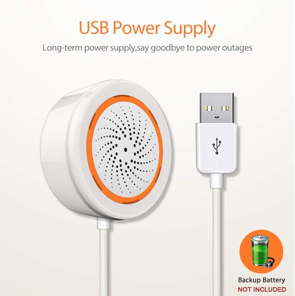 Sensor de Alarma WiFi KKmoon Sensor de alarma de sirena USB Alarma de sirena inteligente Alarma de seguridad Compatible con 2.4GHz Seguridad para el hogar Zigbee Trabajo con puerta de enlace