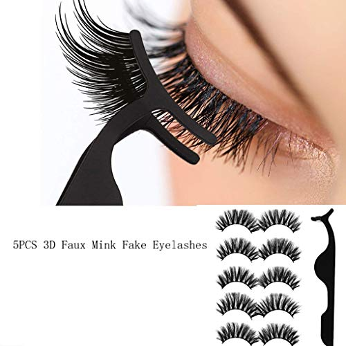 NOGOQU 5 Pair Luxury 3D Mink False Lashes 15mm Long Thick Cross Fluffy Strip Natural Round Look Eyelashes for 2019 Makeup + Tweezer(Black)