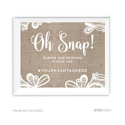 Andaz Press Burlap Lace Print Wedding Collection, Personalized Party Signs, During our Wedding, Please Use # Hashtag, 8.5x11-inch, 1-Pack, Custom Made Any Name