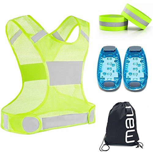 ShineU Reflective Running Vest, Armband and LED Safety Light, Waterproof Strobe Lights with Velcro Straps, Lightweight Adjustable 360° Visibility Armband Safety Vest for Running Jogging Cycling by ShineU