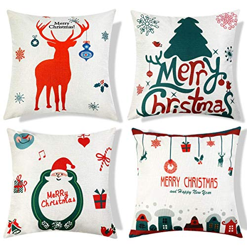 Christmas Pillow Covers 18 x 18 Inches Pack of 4 Decorative Square Throw Pillow Covers Set Cushion Cases Pillowcases for Sofa Bedroom Car (Pillows Set Sofa)