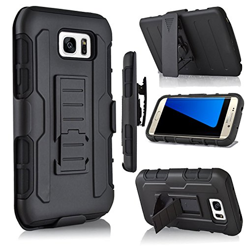 Galaxy S7 Edge Case, Jwest S7 Edge Combo Shell & Holster Case Super Slim Shell Case w/ Built-In Kickstand + Swivel Belt Clip Holster for Samsung Galaxy S7 Edge (Black/Black)
