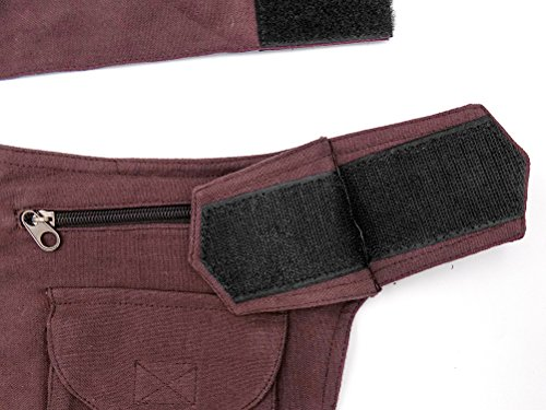 Hüfttasche / Schultertasche braun Baumwolle mit Innenfach - Fair Trade