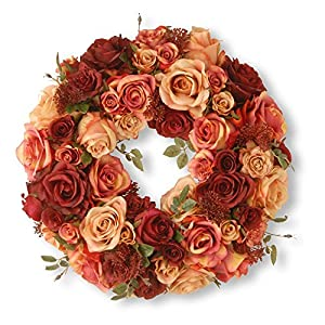 National Tree Company 15.50 in. Decorated Wreath with Mixed Roses and Skimmia 102