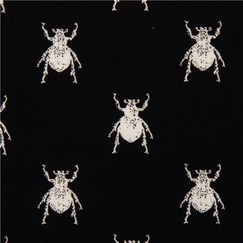 black animal fabric with white bugs Michael Miller (per 0.5 yard multiples)