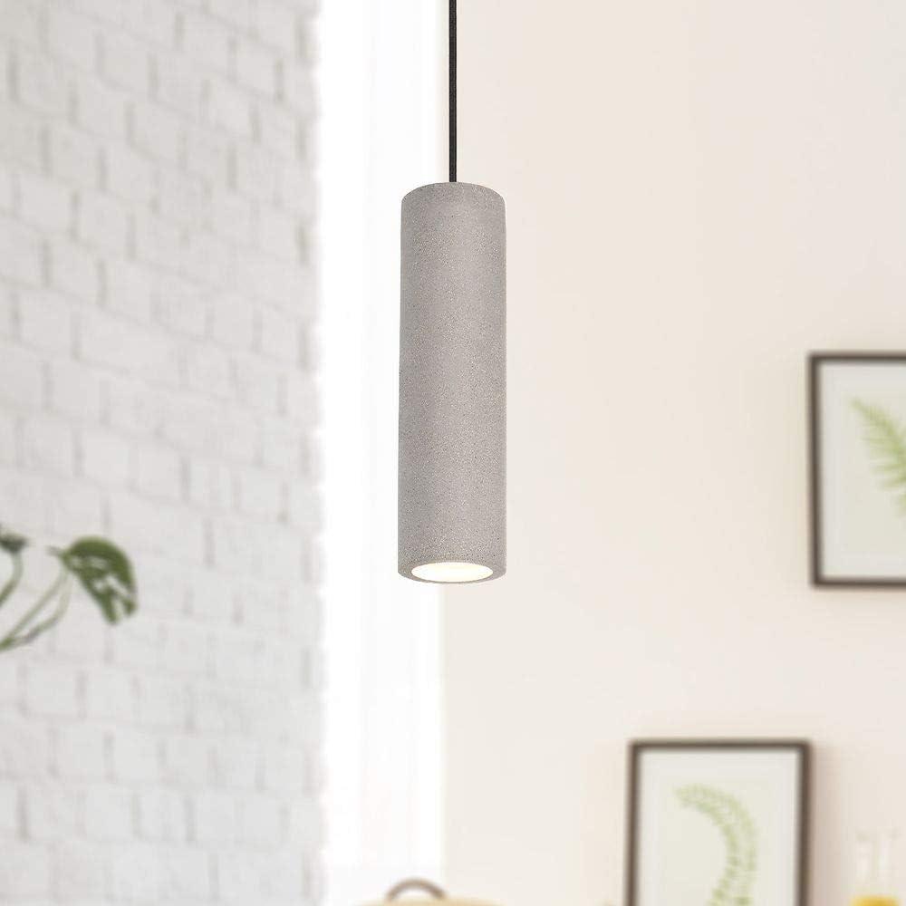Luminaria Suspendida LED, GU10, Lámpara Para Salón, Comedor Y Cocina De Altura Ajustable, Color:Hormigón-piedra-gris, Bombilla:Claro - 330lm / 5W