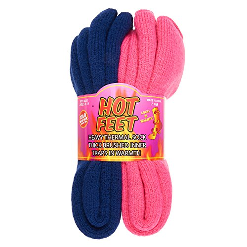 Socks Thermal Womens (Hot Feet Women's 2 Pairs Heavy Thermal Socks - Thick Insulated Crew for Cold Weather; Shoe Size 4-10.5 (Pink and Blue))