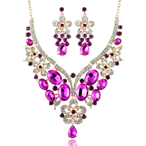 - LAN PALACE African Jewelry Sets 18k Gold Dubai Glass Rhinestone Necklace and Earrings for Wedding six Colors (ROSEO)