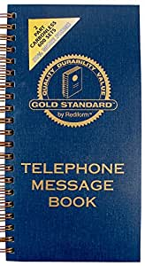 Rediform Gold Standard Telephone Message Book, 2.75 x 5 inches, 4 per Page, 600 Messages (50079)