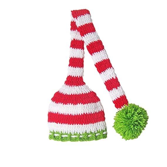 TiaoBug Bebé Sombrero Navideño de Punto Hecho de Mano de Ganchillo Sobrero Elf de Cola Larga Pompón Infántil Disfraz para Fiesta Navidad Fotografía Recién ...