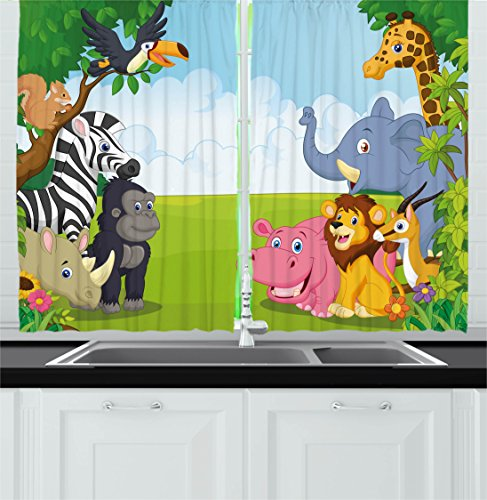 Cheap Ambesonne Kids Decor Kitchen Curtains, Kids Decor Children Nursery Room Safari Themed Cartoon Animals Image Art Print, Window Drapes 2 Panels Set for Kitchen Cafe, 55W X 39L Inches, Multicolor