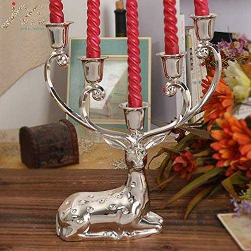 Twinlight Candle Holders Silver Finish Metal Reindeer Shape Candle Holder,5-arms Decorative Candlestick, zinc Alloy Candle Stand
