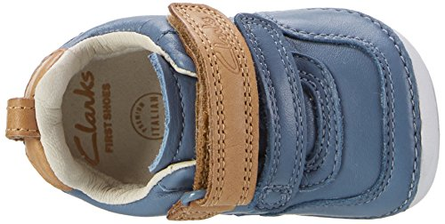 Clarks Tiny Aspire, Mocasines para Bebés Azul (Denim Blue Lea)