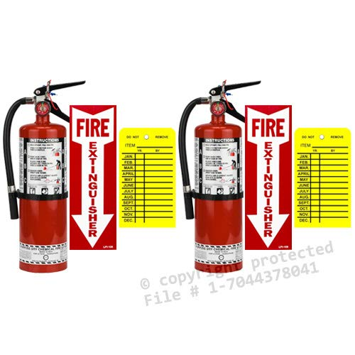 (Lot of 2) Strike First, 5 Lb. Type ABC Dry Chemical 2-A :10-B:C Fire Extinguishers with 2 Wall Hooks, 2 - Yellow Inspection Tags and Signs by Strike First by BigDavesYardSale (Image #4)