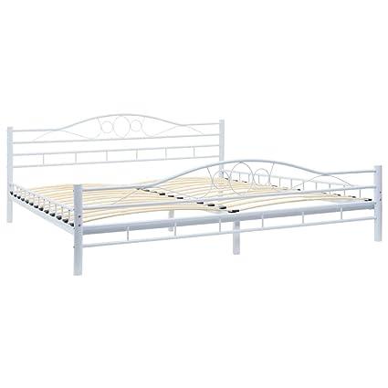 Metallbett 180x200cm Weiß Bett Bettgestell Doppelbett Lattenrost