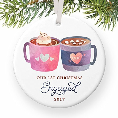 Our First Christmas Engaged Ornament 2017, Dated Year 2017, 1st Xmas Engagement Ornament for Fiancee, Cute Mugs Ceramic Present Keepsake 3