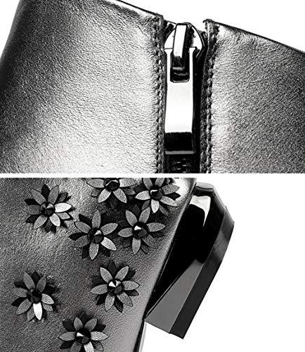 Elegantes Tacón Lateral Botines Flor Punta De Cuero Mujer Segundo Bajo Moda Señoras Botas Cremallera Invierno Yan Zapatos En E Pequeña Otoño Para vwqRdOR