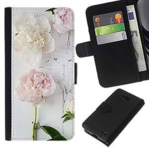 KLONGSHOP // Tirón de la caja Cartera de cuero con ranuras para tarjetas - Composición del arte del dibujo en blanco - LG OPTIMUS L90 //