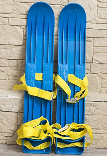 (INT Kids Skis Plastic Mini Snow Skis with Sturdy Straps for Downhill or Cross Country Skiing (40cm) Bindings)