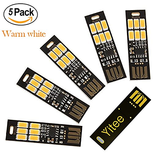 Yitee 5pcs USB Light Keychain Super Bright 6 LEDs Mini USB Light Lamp with Smart Touch Electrodeless Dimming...
