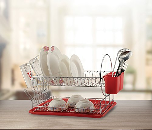 Modern Kitchen Deluxe 2 Tier Chrome Finished - Red Dish Dryi