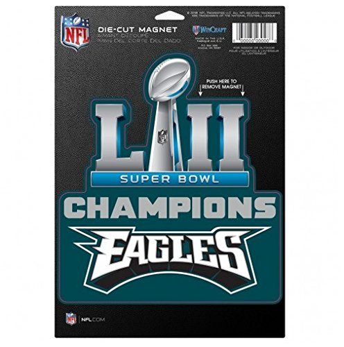 NFL Philadelphia Eagles Super Bowl LII Champions Trophy Logo Magnet, 6 x 9-inches