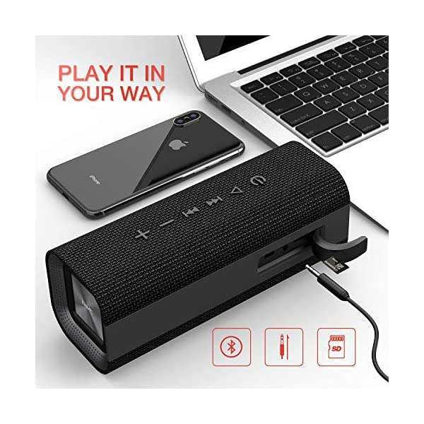 HAVIT V4.2 Enceinte Bluetooth Portable Puissante, Haut Parleur Bluetooth pour Bluetooth, Entrée Filaire, Carte TF -Noir 4