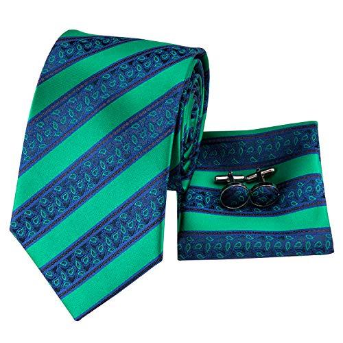 (Hi-Tie Mens Green Stripes Paisley Tie Necktie with Cufflinks and Pocket Square Tie Set)