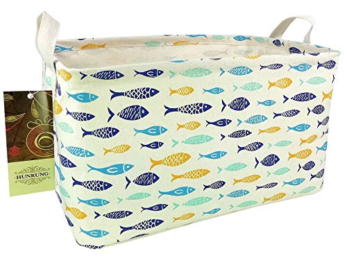 HUNRUNG Rectangle Storage Basket Cute Canvas Organizer Bin for Pet/Kids Toys, Books, Clothes Perfect for Kid Rooms/Playroom/Shelves (Fish) (Best Pet Fish For Kids)
