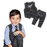 LUQUAN Gentleman Boys Kids Suit Sets Gift Plaid Vest Tops+Long Pants Trousers Party Outfits 130/6-7T,Gray