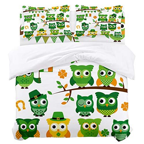 Duvet Cover Set St. Patrick's Day Irish Owls with Leprechaun Hats on Trees Ultra Soft Breathable Extremely Durable Twill Plush 4 Piece Bedding Sets for Childrens/Kids/Teens/Adults , Full Size (Leprechaun Plush Hat)