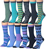 Tipi Toe Women's Ladies 12 Pairs Colorful Funky Fashion Blue Purple Crew Socks, (sock size 9-11) Fits shoe size 5-9, WC29-AB