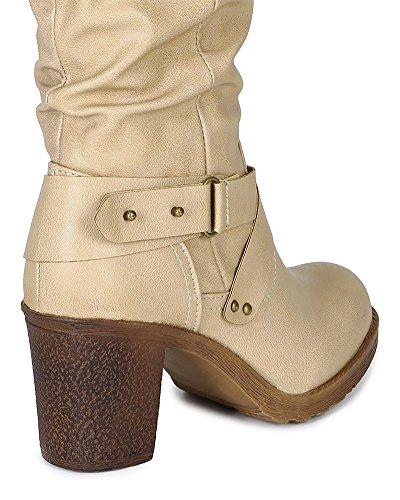 Calf Slouchy Women Bumper Criss Heel Boot Chunky Cross Leatherette BF21 Beige High Strap U4qwwzpt