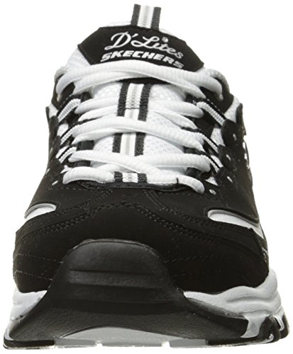 Women's Lace Skechers D'Lites up White Black Foam Sneaker Memory 4TxzqwZ