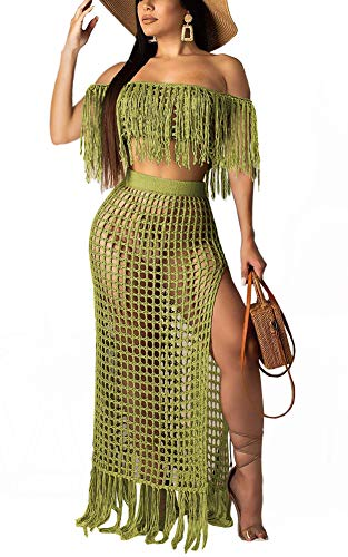 Women's Sexy Tassel Cover Up - Two Piece Hollow Out Off Shoulder Crop Top + High Slit Maxi Skirt Small Green ()