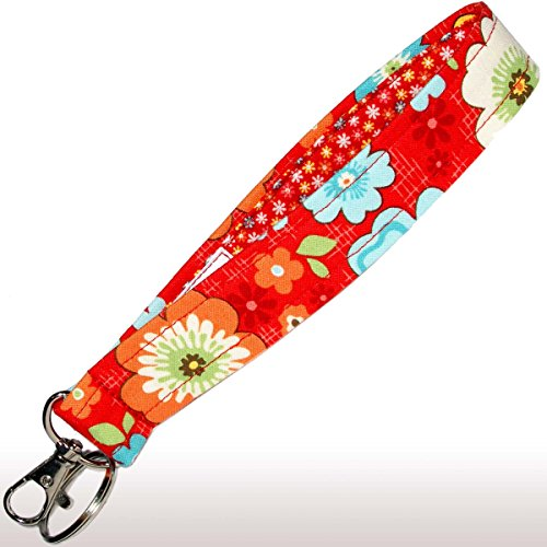 Flower Key Fob - Red Floral Key Fob - Wristlet - Flower Keychain - Wrist Lanyard - Purse or Wallet Strap