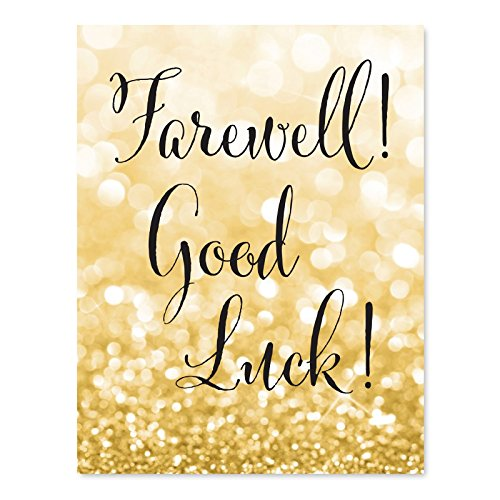 Andaz Press Retirement Party Signs, Glitzy Gold Glitter, 8.5x11-inch, Farewell! Good Luck!, 1-Pack