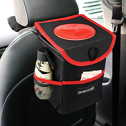 oneisall Car Trash Can with Lid,Waterproof & Leak-proof Car Garbage Can Holder,Portable In Car Trash Bag Hanging with Storage Pockets(Black&Red) by oneisall (Image #1)