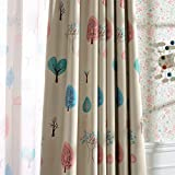 Melodieux Cartoon Trees Room Darkening Blackout Curtains for Kids Room Nursery Grommet Top Drapes, 52' W x 96' L (1 Panel)