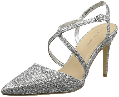 New Look Rexy, Zapatos con Tacon y Correa de Tobillo para Mujer Plateado (Silver)