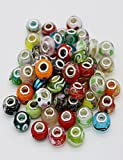 Assorted Murano Glass Beads for Jewelry Making Compatible with Chamilia, Troll, Biagi and More, 30Pcs