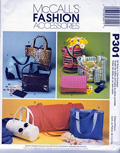 McCall's Fashion Accessories Pattern P301 c2001 Handbags, Purses, - Mccalls Accessories Fashion